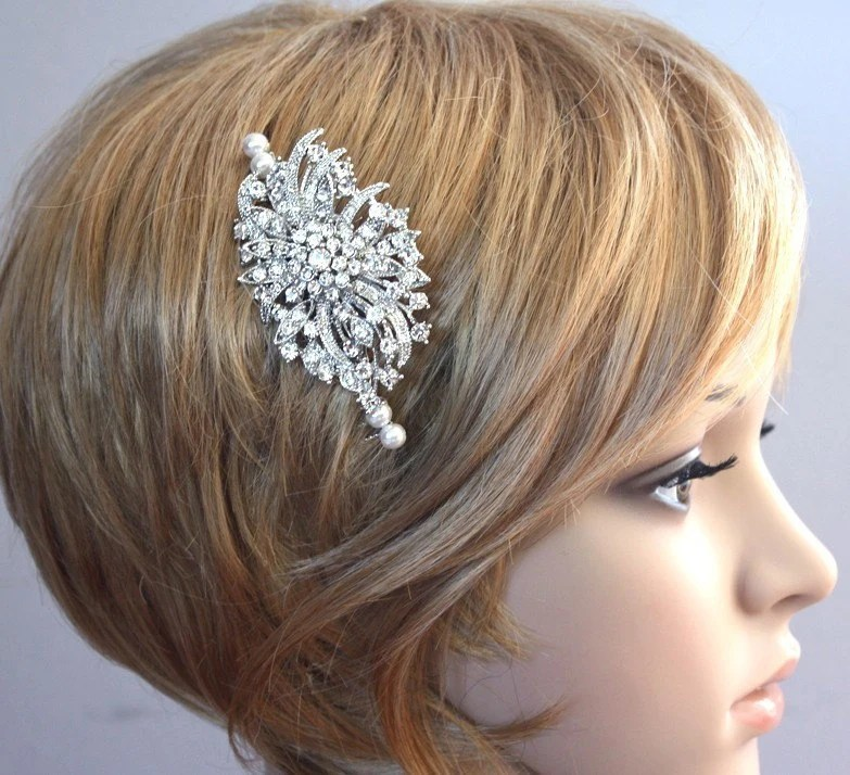 Victorian inspired  Rhinestone Swarovski Pearls Hair comb Wedding Bridal Headpiece Ready to ship