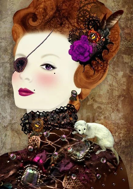 Lady with bejeweled eye patch- digital painting/collage