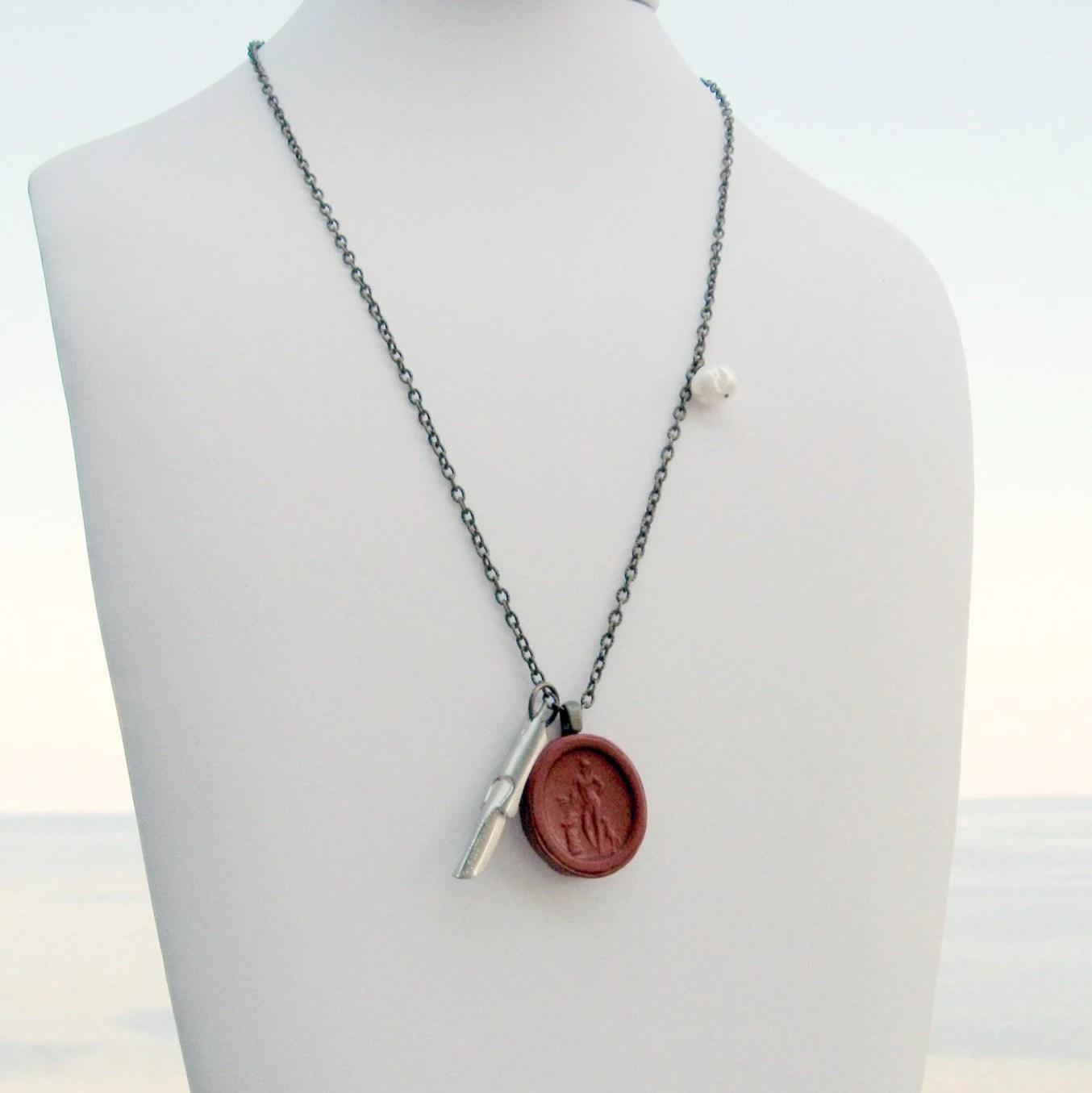 Red Poet Greek Anthology Necklace