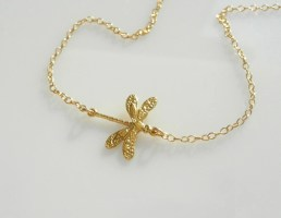 Dragonfly Necklace Set Off Center in 18kt Gold on a 14kt Gold Filled Chain