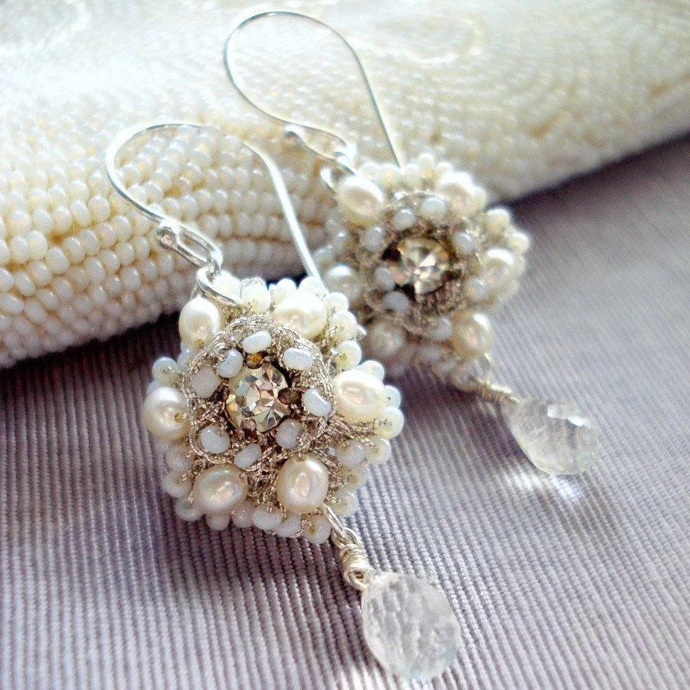 ATHALIE Handmade Lace Wedding Earrings- Freshwater Pearl, Vintage Rhinestone, Quartz Crystal- MADE TO ORDER