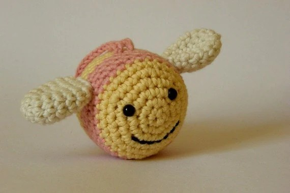 Soft baby rattle - Bee (organic cotton)