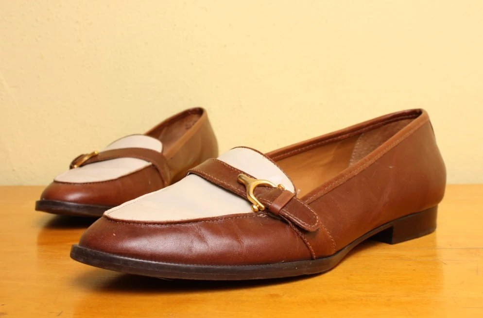 Cream And Brown Loafers