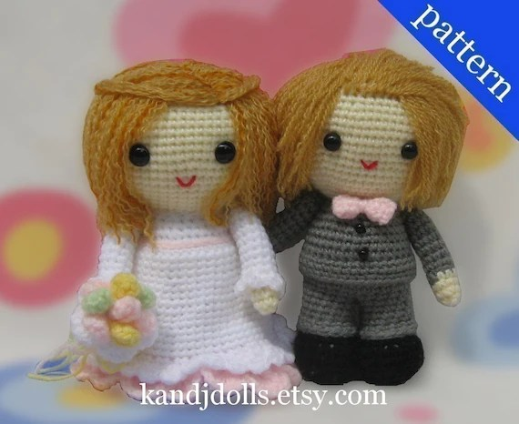 Wedding Bride and Groom - Amigurumi - 2 PDF Crochet Patterns