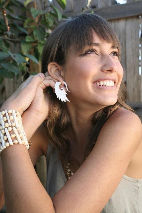 Nava Wings-Organic Bone Earrings