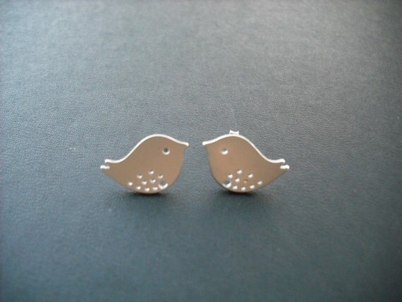 love birds post earrings - matte 16K gold and sterling silver