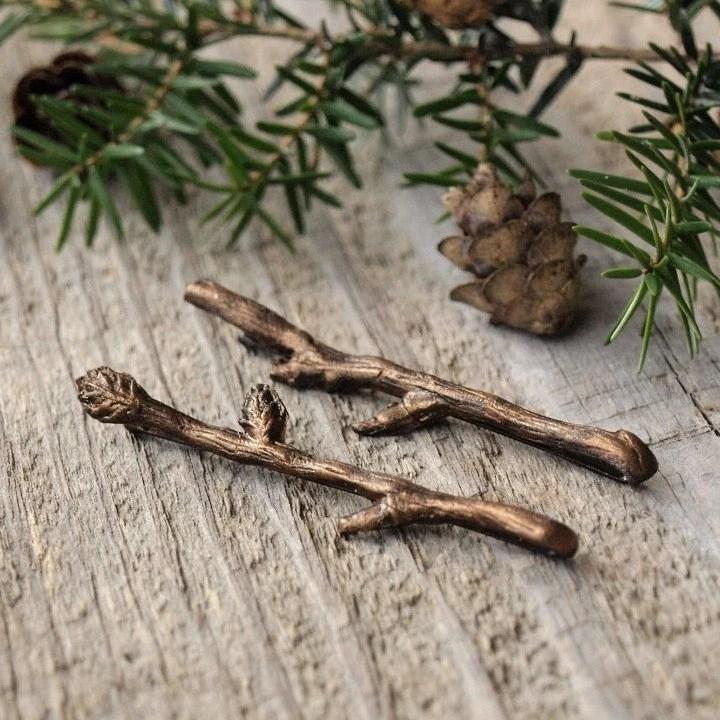 Bella Rustica Antique Bronze Tiny Twig Hair Pins