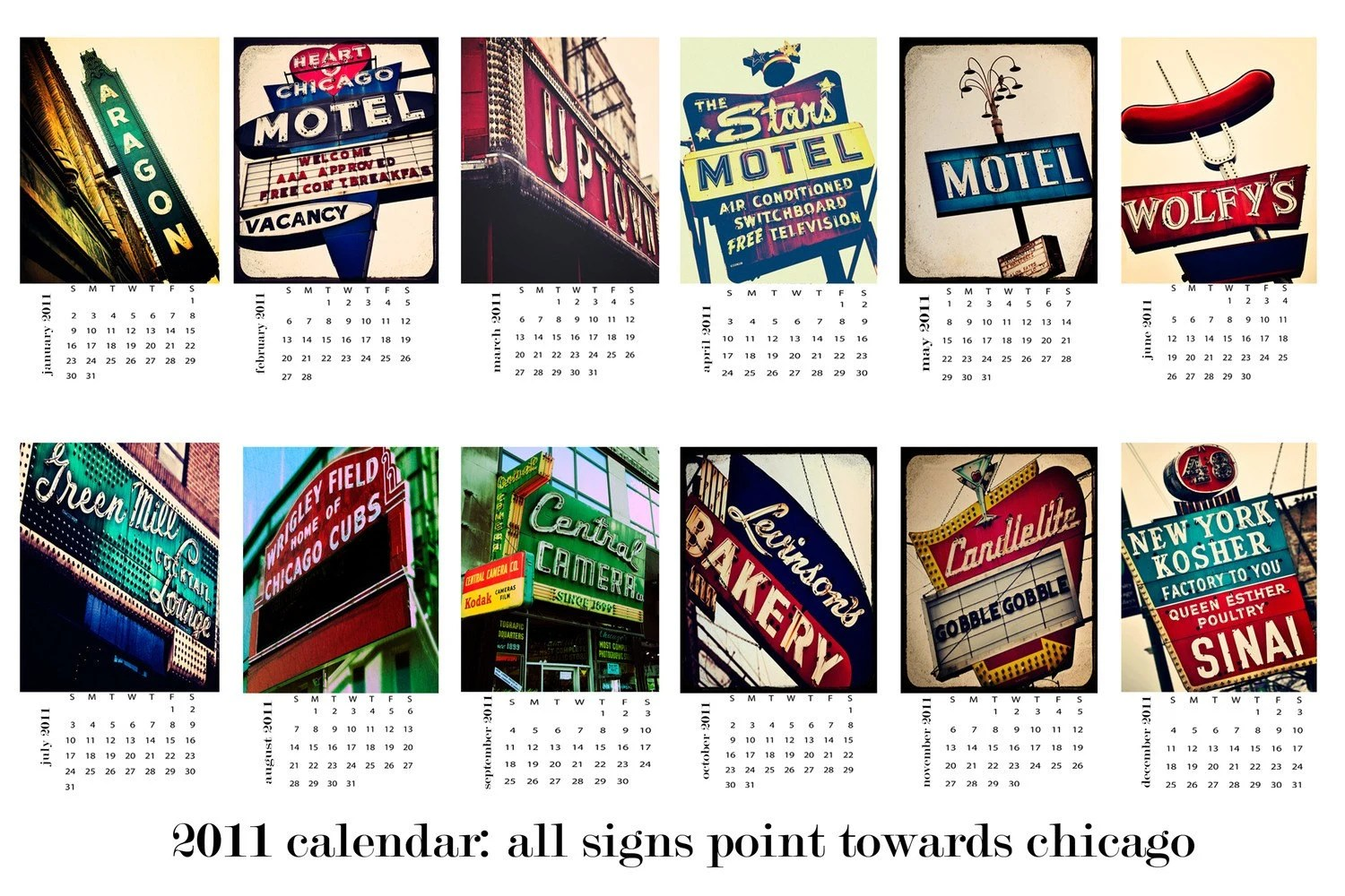 IN STOCK 2011 Calendar- All Signs Point Towards Chicago- 4x6 single sheet calendars of colorful vintage and retro neon signs in Chicago-  gifts under 25- Ready to Ship
