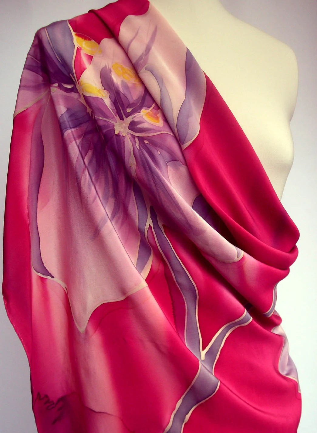 Handpainted Luxurious Crepe de Chine Silk Scarf  Magenta Violet Floral Unique Accessorie Mothers Day Gift