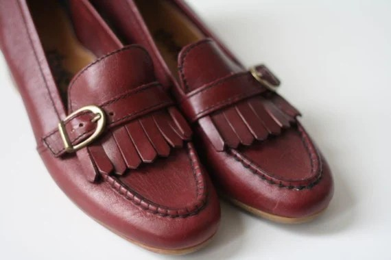 Maroon Leather Oxfords