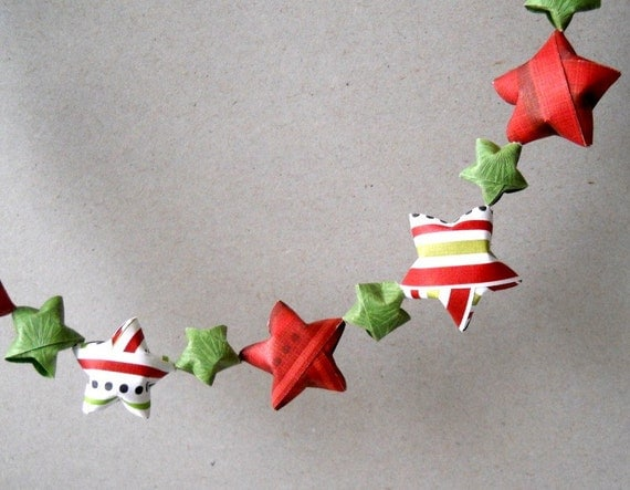 Paper Star Garland, 6 Feet - Christmas, Holiday, Green, Red, White, Cute, Origami, Handmade, Unique, Festive, Simple, One of a Kind, Paper, Fun