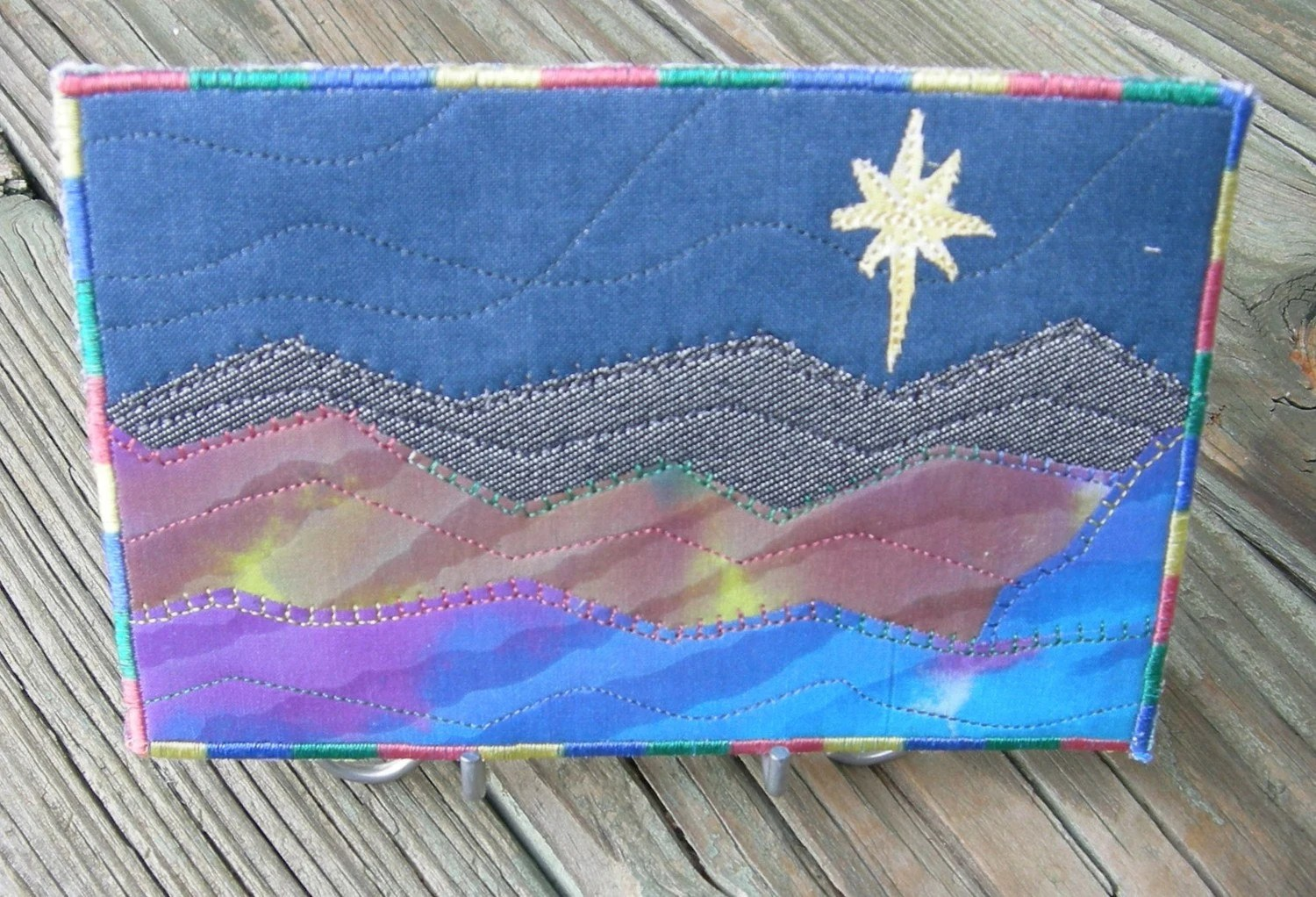 Landscape Quilted Fabric Postcard Art Quilt-Lone Star