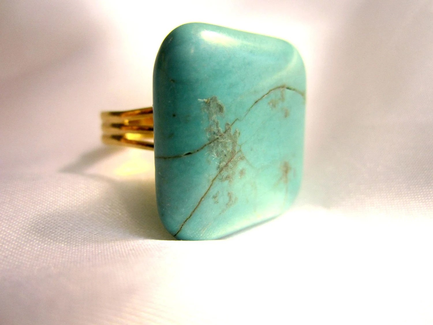 Teal Statement Ring on Gold Adjustable Band
