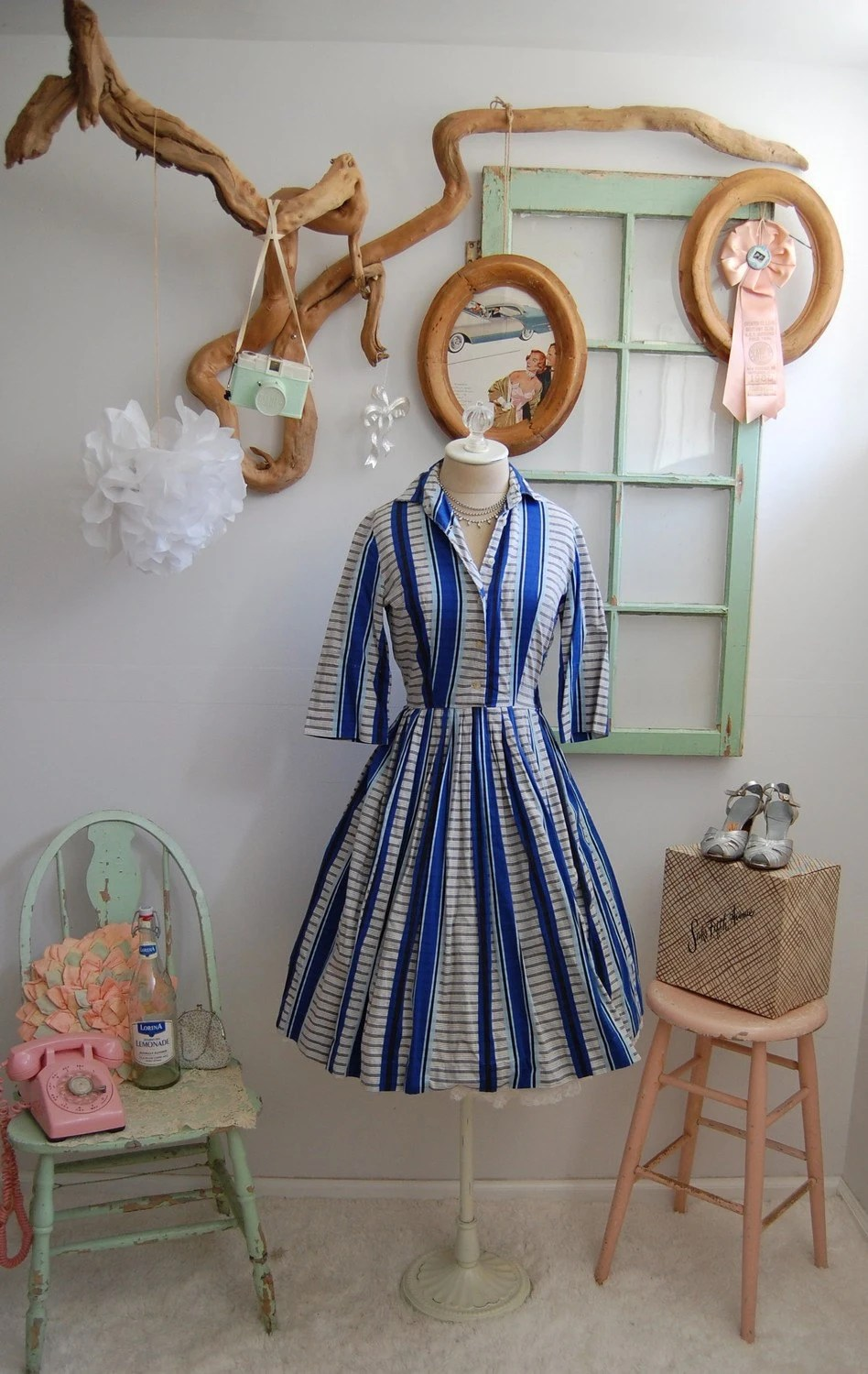 The Marlie- Vintage 1950s Rockabilly Blue Plaid Shirtwaist Full Skirt Day Dress Size XS Small