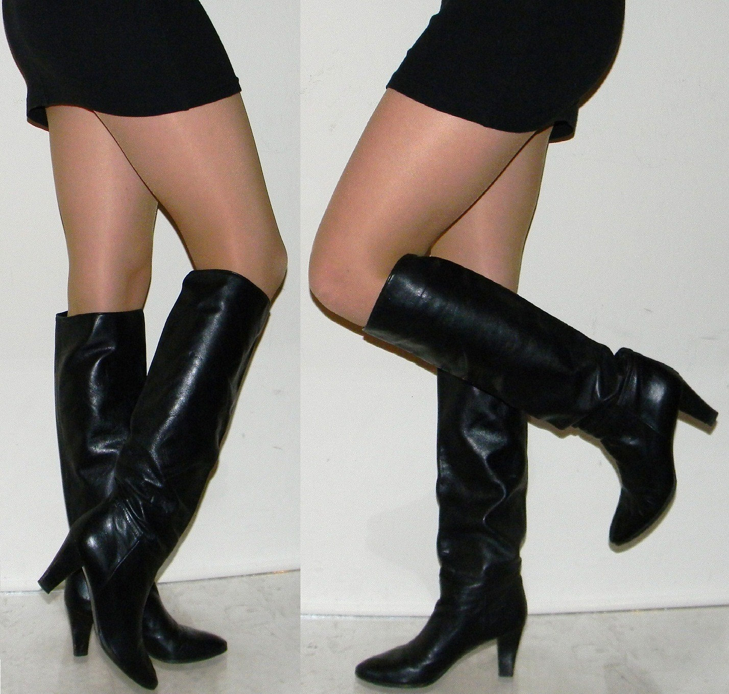 SALE sz 6 QUALITY 70s 80s black tall leather boots