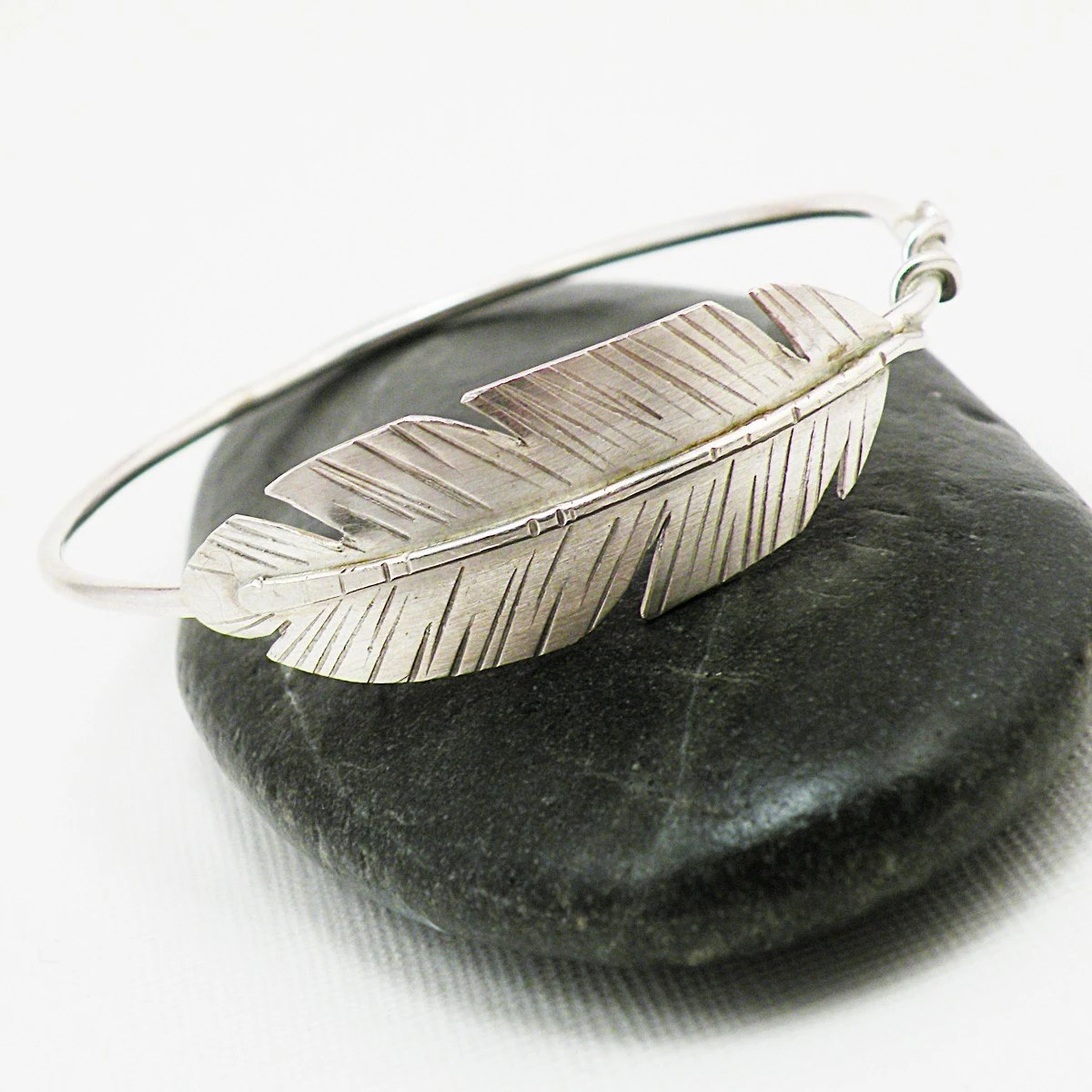 Take Flight Sterling Silver Feather Bangle