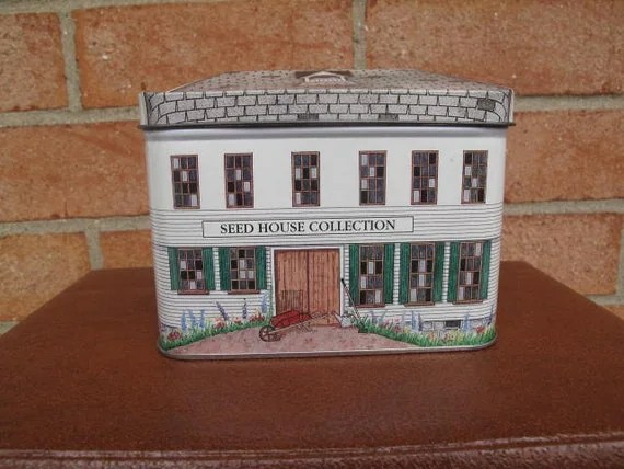 Vintage Tin Seed House Collection / Figural Tin / Samplers Tin Box / Burpee Advertising House Shaped Metal Tin / Tin Tooling Made in England / Building shape container box / Historical building late Victorian frame architecture / Recycle, Upcycle, Reuse