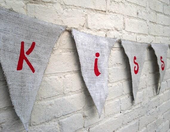 Valentines Day Burlap Kiss Me Banner