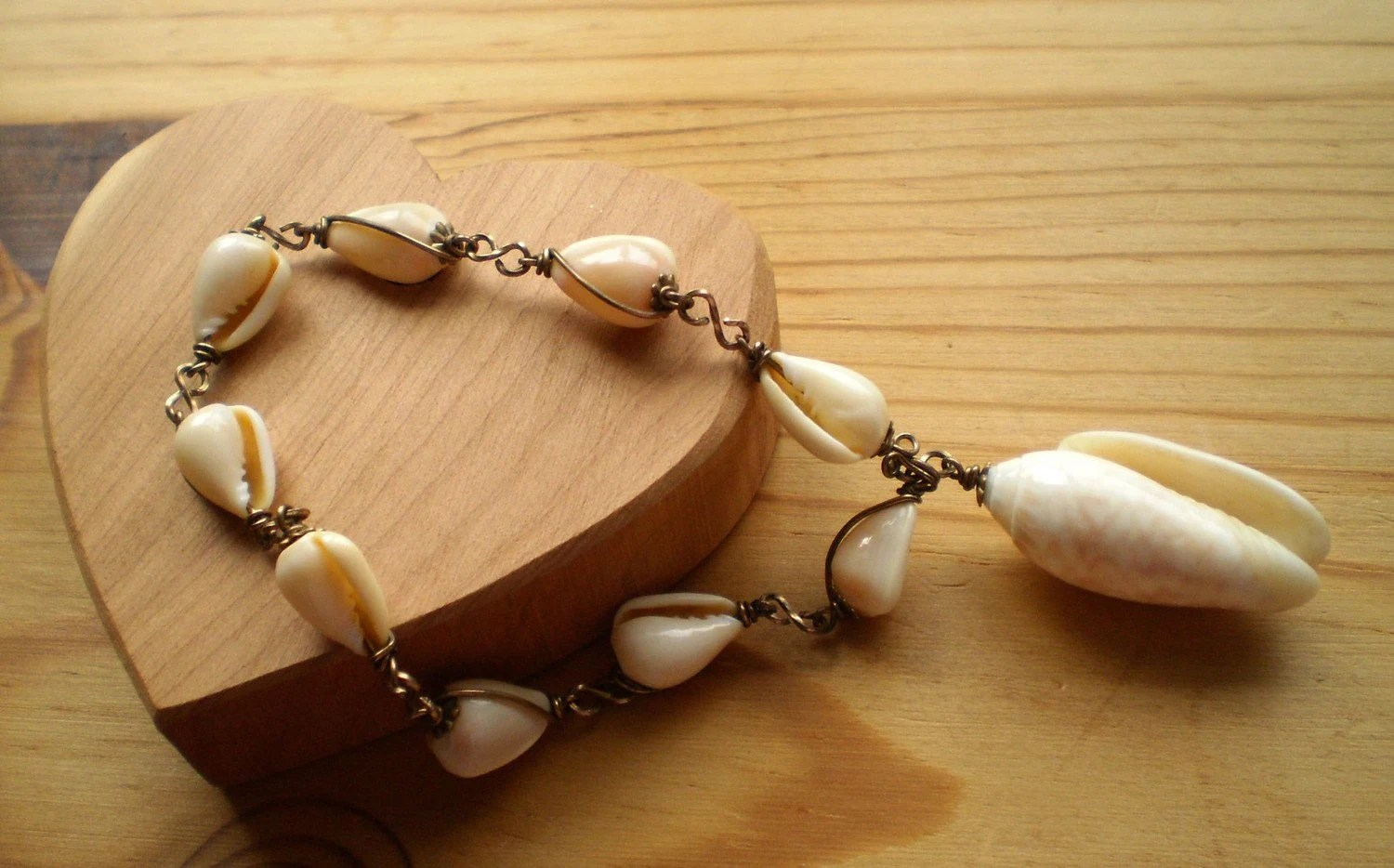 Vintage Cowrie Cowry Shells Linked with Brass Wire Large Cowrie Cowry Shell Designed to be a Charm Dangler Made in Hawaii Handcrafted Circa 1950s
