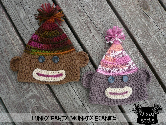 PATTERN - Funky Party Monkey Beanie