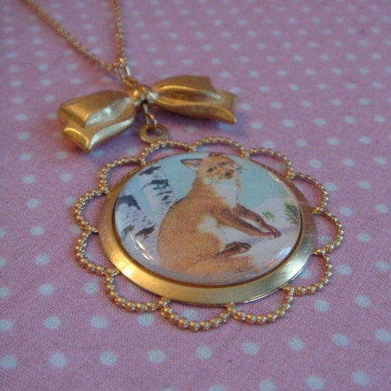Fox in the Snow Cameo Necklace