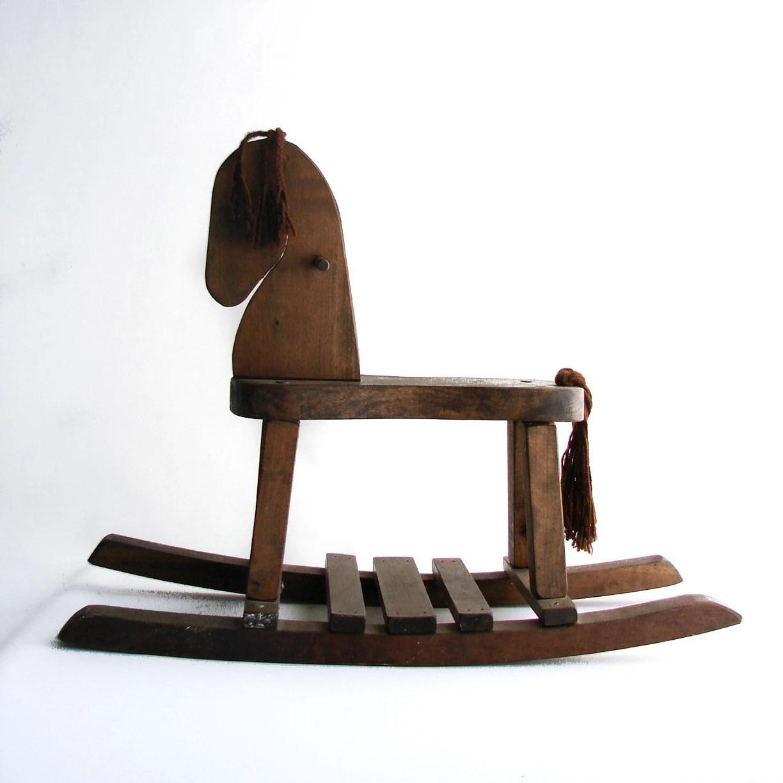 Vintage Wood Rocking Horse.