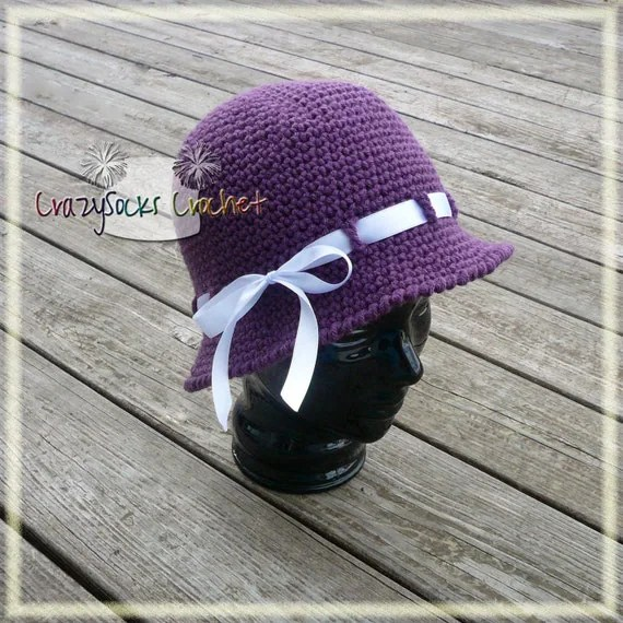 PATTERN - ALICE Hat - cloche or beanie with ribbon