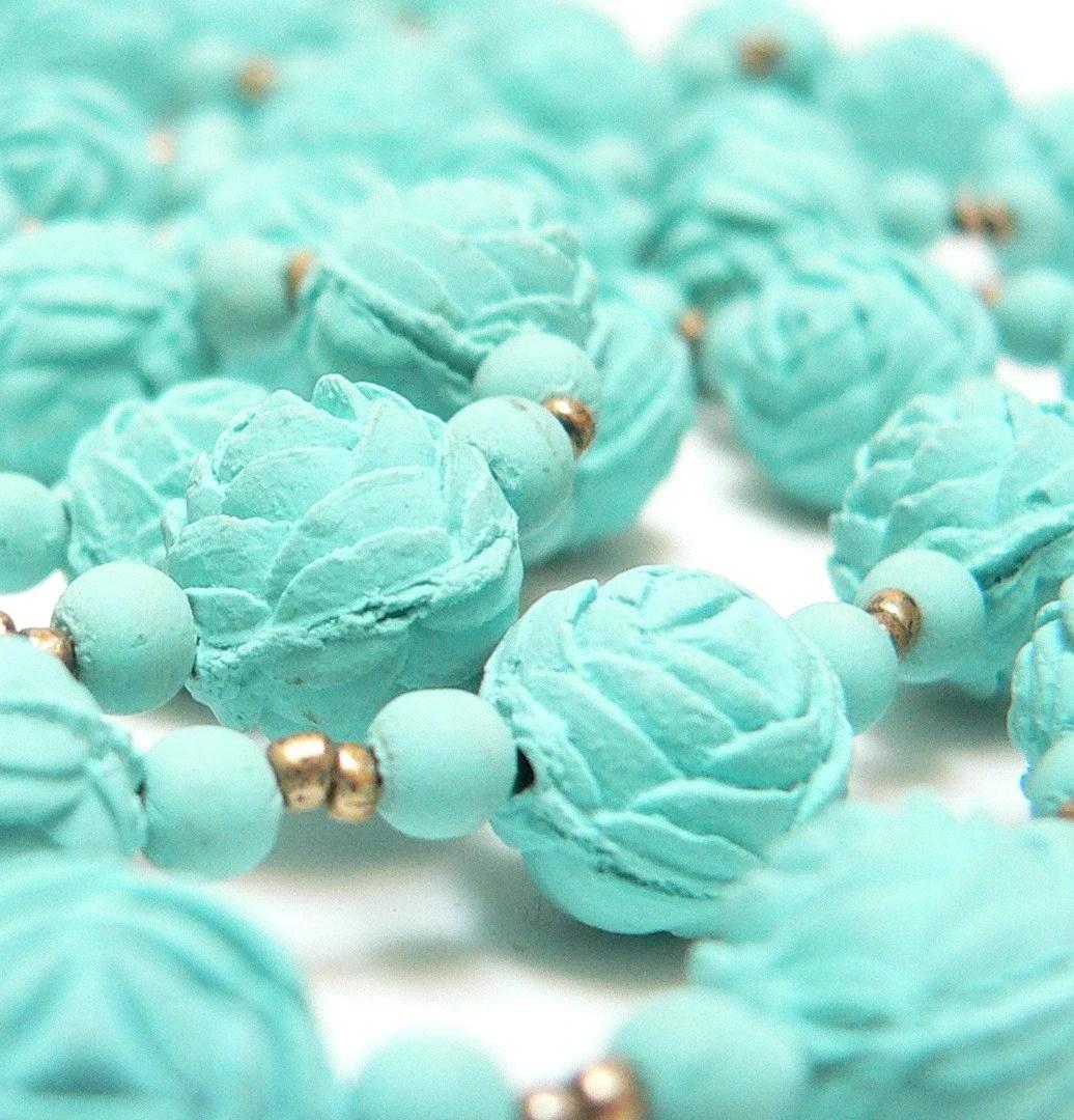 Art Nouveau Blue Flower Petal Bead Opera Length Necklace with Original Box - free shipping