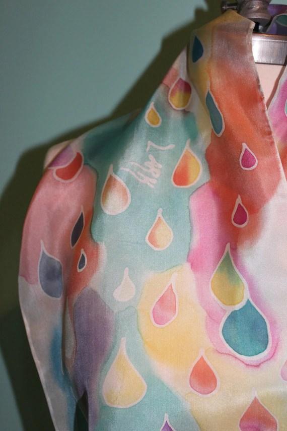"rainbow ""raindrop"" abstract hand painted silk scarf"