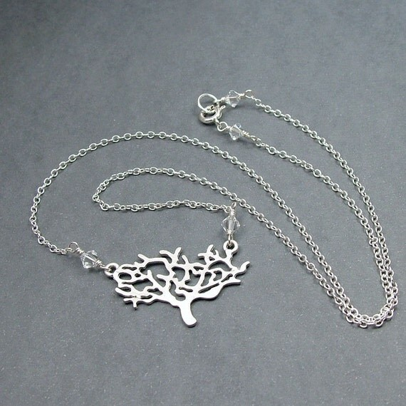 The Old Tree Necklace Sterling Silver Chain and Swarovski Crystals