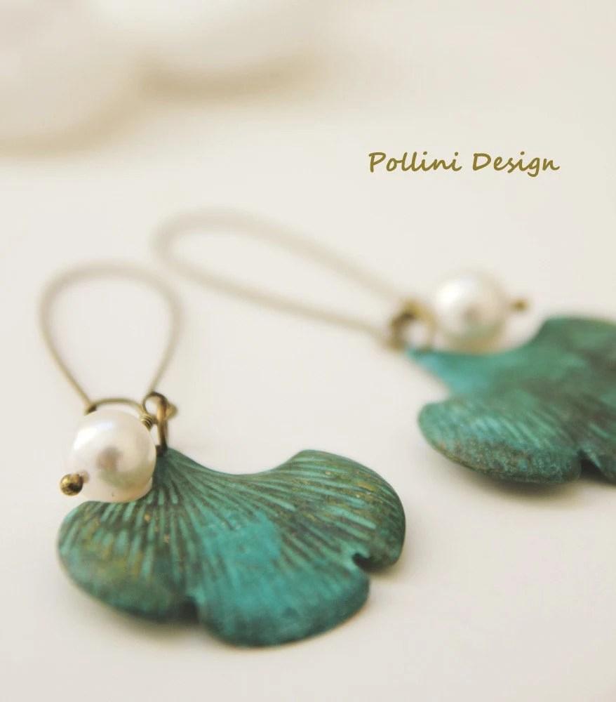 Ginkgo Leaves Earrings. Swarovski  Pearl