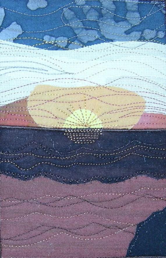 Inspirational Sunset Seascape Fabric Postcard Art Quilt-RESERVED FOR JENAI
