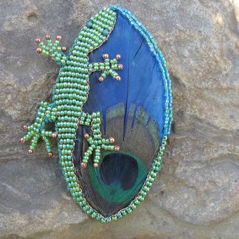 Peacock and Lizard Beadwork Brooch