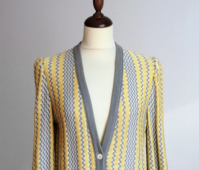 1980s vintage SPRING BIRD cotton sweater jacket