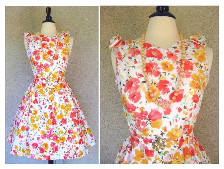 *  Adorable 1950's Style Betty Draper Reproduction Spring Party Dress with Bows and Matching Belt