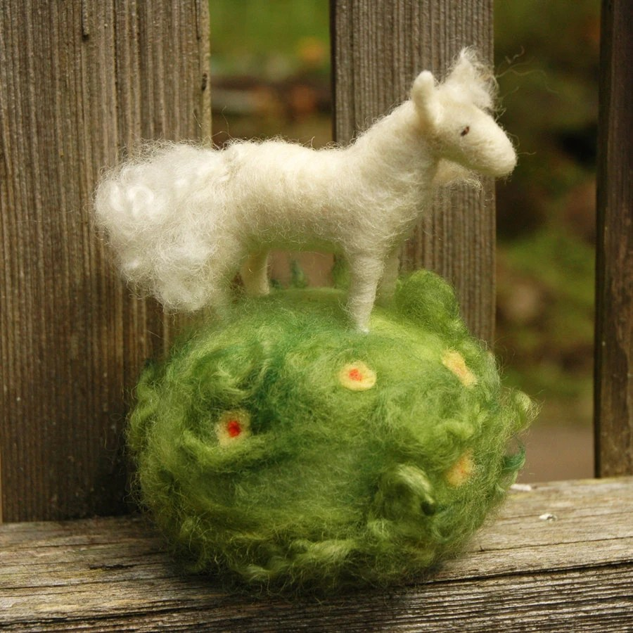 White Pony in a Meadow - Needle Felted Pincushion