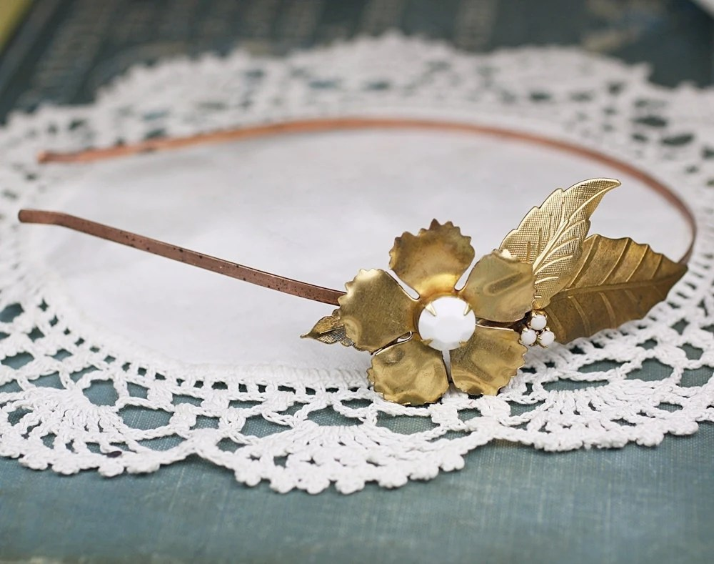 Brass flower white jewel vintage style bridal headband