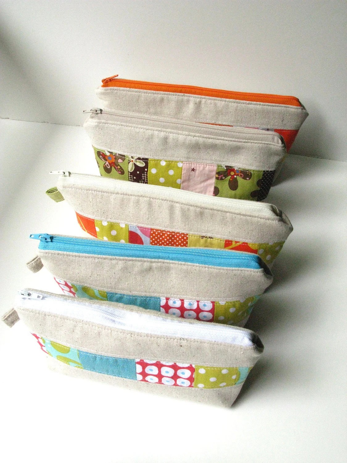 Zipper Pouch Cosmetic Bag - Modern Patchwork in Earth