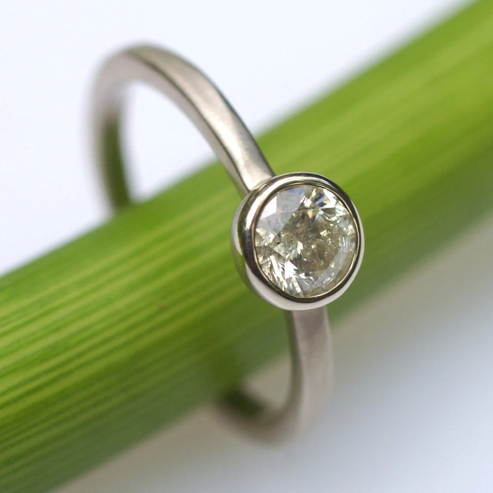 ON SALE Diamond Solitare Ring In White- One Of A Kind