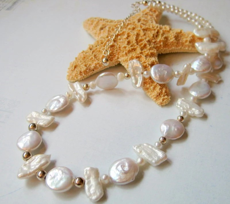 She Sells Sea Shells - Lovely Freshwater Coin and Biwa Pearls with Sterling Silver