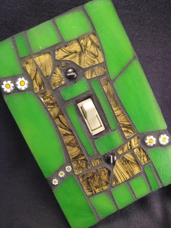 Green and Bronze Mosaic Stained Glass Switch Plate Cover