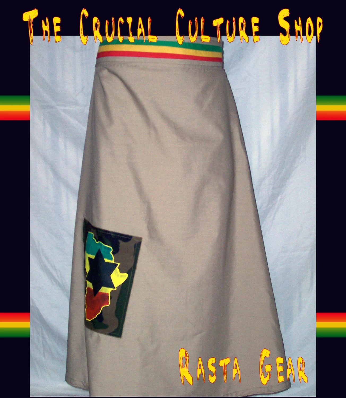 Rastafari African Black Star Khaki Wrap Skirt