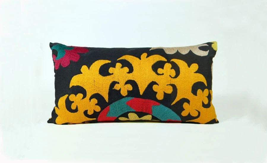 Suzani Pillow - Bright Tadjik - Gold, Orange, Teal, Yellow - 12 x 22