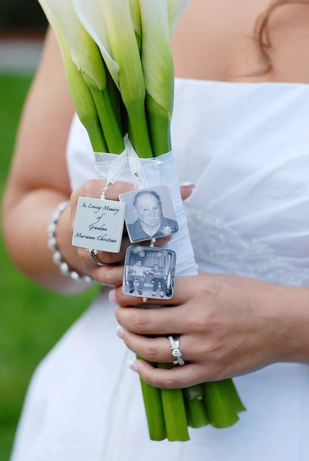 3 Lg. Bridal Bouquet Memorial Photo Charms - Handmade Photo Tile Accessory