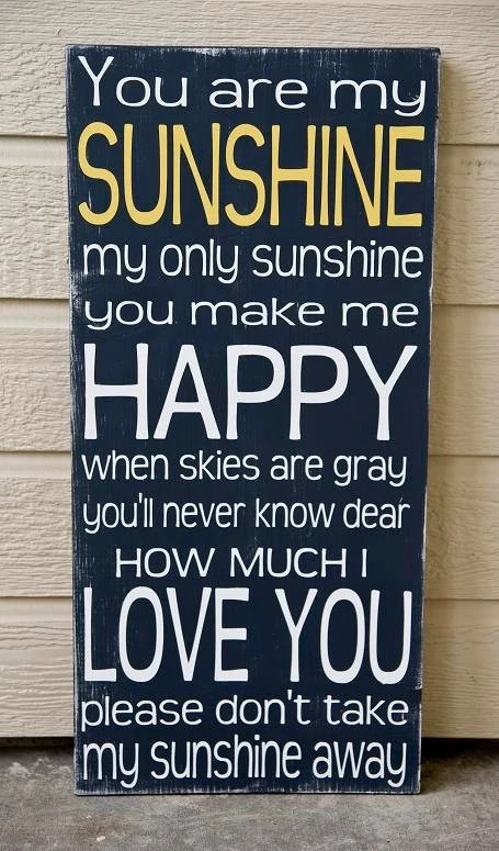 You Are My Sunshine Typography Sign - Distressed -Charcoal and Yellow