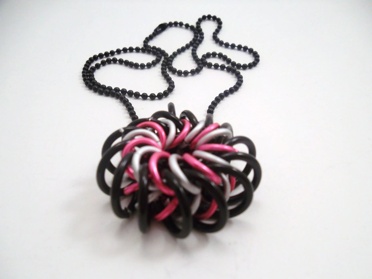 Lolly Pop Pinwheel Chainmaille Pendant Necklace in Cotton Candy Pink and Ice Chainmail