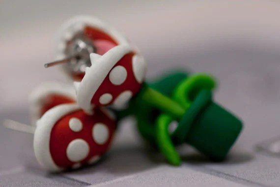 YOUCH Piranha Plant Earrings            OUT of stock until 9/1 or sooner