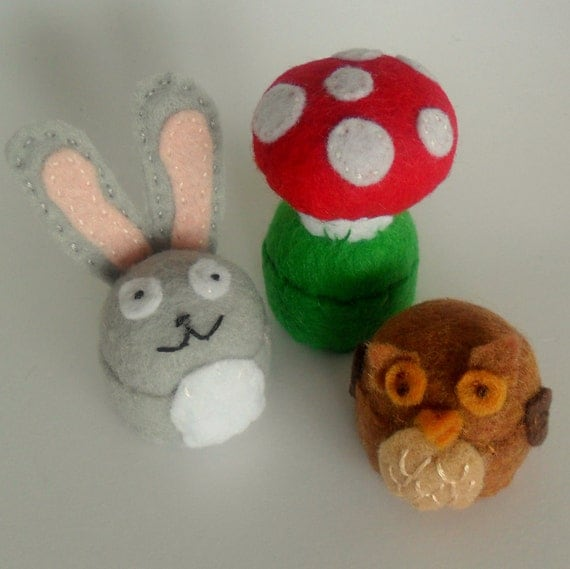 Owl, rabbit, mushroom mini pincushions