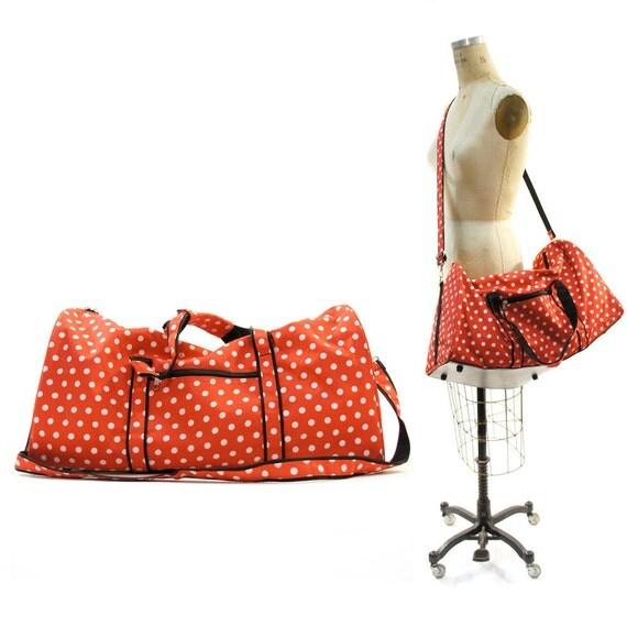 Minnie 1980's Duffel Bag in Red & White Polka Dot Nylon