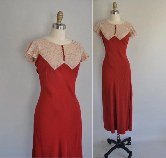 vintage 1930s 30s lace dress / 30s crimson red rayon lace dress / Why Dont You Come Over Here
